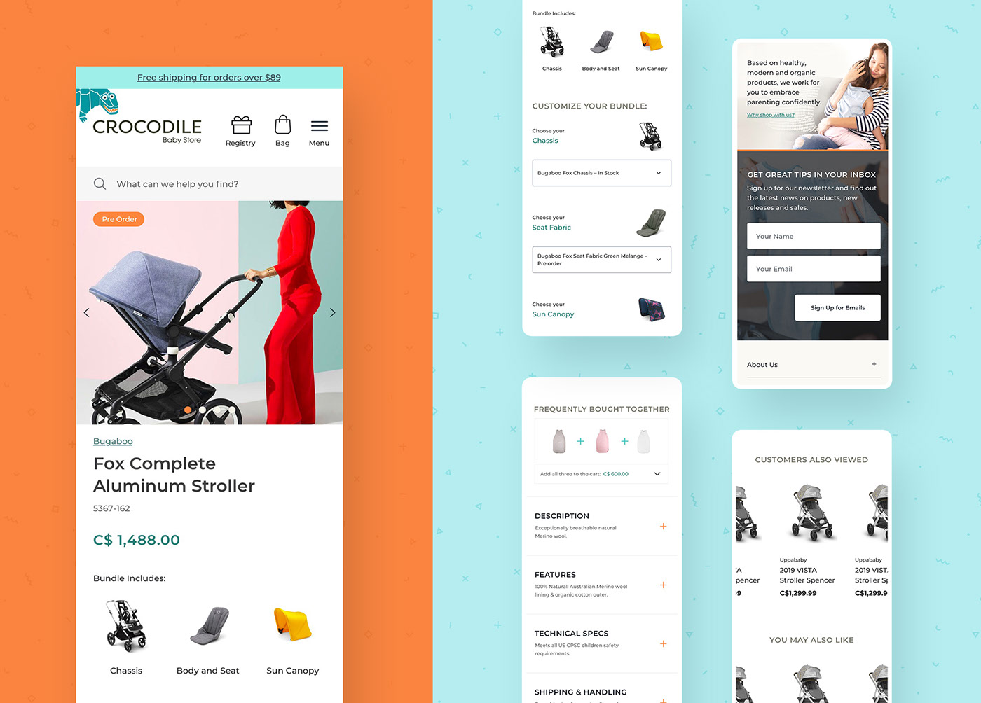 Mobile eCommerce designs for our UI & UX study